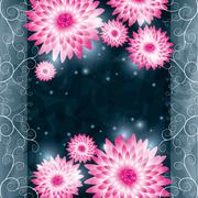 flower chrysanthemum background. invitation or greeting card - stock illustration