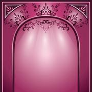 background with arch and decorative ornament - stock illustration
