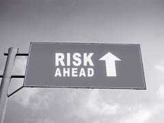 A notice board on a national highway showing risk ahead, concept Stock Photos