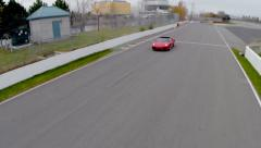 Aerial Car Racing - Red Car 04 - Ferrari Stock Footage
