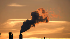 Atmosphere climate. energy. industrial industry. pollution smoke smog dirty Stock Footage