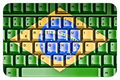 computer keyboard with brazil flag concept - stock illustration
