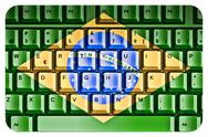 Stock Illustration of computer keyboard with brazil flag concept