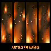 Collection of banners depicting fire on a dark background Stock Illustration