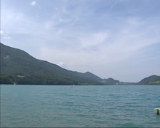 Lake Fuschlsee in the Austrian Alps + pan Stock Footage
