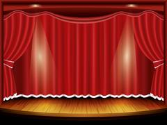 Theater stage with red curtain and spotlight, vector Stock Illustration