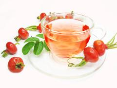 fruit herbal tea with wild rose hip extract - stock photo
