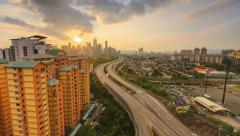 Timelapse of Sunset Overlooking Kuala Lumpur City - 4K Stock Footage