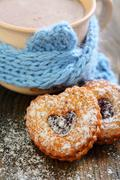 cocoa and linzer cookie . - stock photo