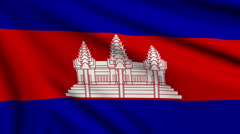 Flag of Cambodia looping Stock Footage