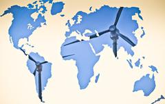 world map, alternative energy, concept - stock illustration