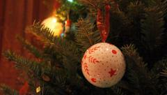 Christmas Tree with Ornaments and Lights Stock Footage