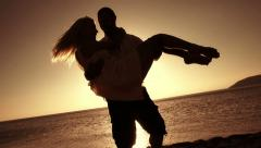 Romantic Couple On The Beach Stock Footage