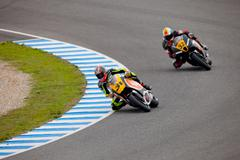 morales and martinez pilot of moto2 in the cev - stock photo