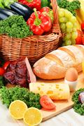 composition with assorted organic grocery products - stock photo