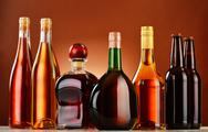 Stock Photo of bottles of assorted alcoholic beverages