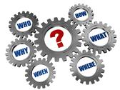 Stock Illustration of question-mark and words in gearwheels