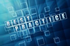 blue best practice in glass blocks - stock illustration