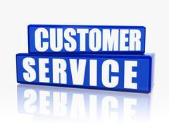 customer service in blue blocks - stock illustration