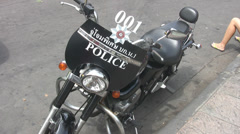 A Police Motorcycle in Bangkok  Stock Footage