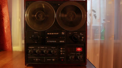 Vintage reel to reel tape recorder, no/without Sound,  Full HD 1080p - stock footage