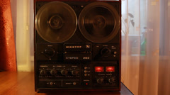 Vintage reel to reel tape recorder,Rewind, SOUND, Full HD 1080p - stock footage