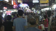 Crowded Evening Khaosan Road Bangkok Stock Footage