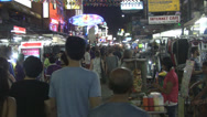 Stock Video Footage of Crowded Evening Khaosan Road Bangkok