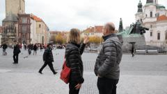 Middle Aged Married Couple In Prague Stock Footage