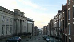 Liverpool Institute Pan from Mount St Sign Stock Footage