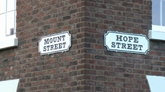 Hope Street & Mount Street Signs, Liverpool Stock Footage