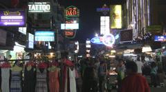 Night Scene Khaosan Road Bangkok  Stock Footage