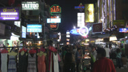 Stock Video Footage of Night Scene Khaosan Road Bangkok