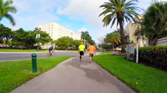 People walking on a fitness trail - stock footage