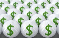 Stock Illustration of Golf Balls with Dollar Sign