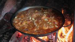 Cooking a paella Stock Footage