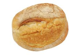 Stock Photo of round loaf of crunchy crust bread.isolated.