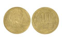 Ten pesos of chile republic.isolated. Stock Photos