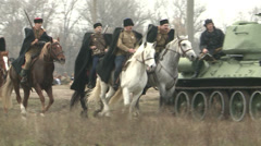 Soldiers, cavalry and military equipment to attack the enemy Stock Footage