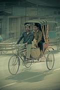 A cycle rickshaw. dibrugarh assam, india Stock Photos