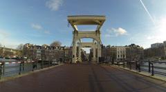 4K UHD Skinny Bridge Amsterdam, Holland Stock Footage