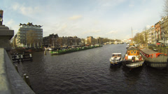 4K UHD The view from Skinny Bridge Amsterdam, Holland - stock footage