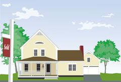 Ideal Family Home with a Real Estate Sold Sign Stock Illustration