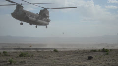 US - 41. Infantry Brigade Training 05 - Chinook Helicopter Landing In Desert 01 Stock Footage