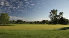 1032 - generic, early morning green at golf course Stock Footage