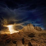 Stormy sky, lightning, mountains Stock Photos