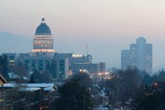 winter deep freeze sunset landscape downtown utah capital architecture dome - stock photo