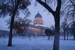Winter deep freeze sunrise landscape utah state capital architecture dome Stock Photos
