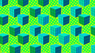 Stock Video Footage of Comic Rubik cube blue and green