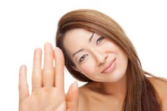 thai beauty with perfect skin - stock photo